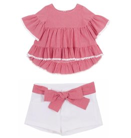 Balloon Chic Blouse rood/wit vichy + wit shortje riem