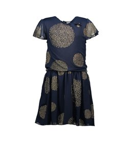 "Le Chic Jurk ""Dots Gold"" blue navy"