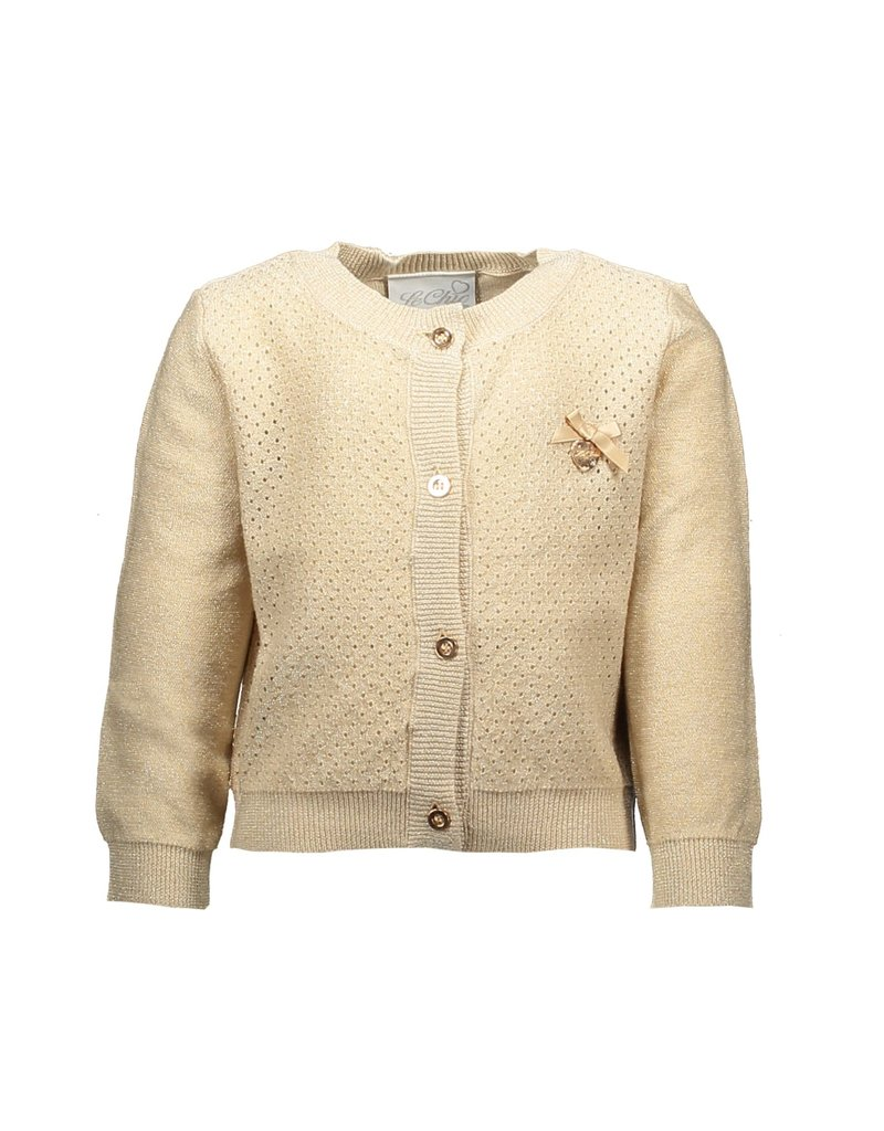 Le Chic Cardigan open knit front fields of gold