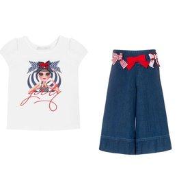 Balloon Chic Tshirt + Culotte Jeans