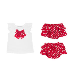 Balloon Chic Baby Set Tshirt + Bloomer rood/wit bolletje