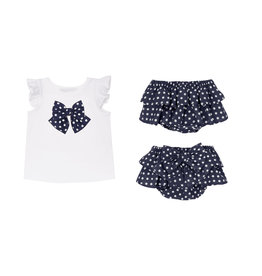 Balloon Chic Baby Set Tshirt + Bloomer blauw/wit bolletje