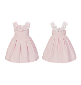 Balloon Chic Jurk roze/witte frullenboord + strikjes