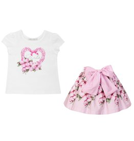 "Balloon Chic Set Tshirt ""Girls"" + Rokje roze bloemen"