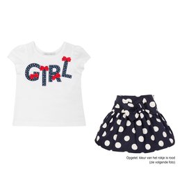 "Balloon Chic Set Tshirt ""Girl"" + Rokje rood bollen"