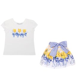 "Balloon Chic Set Tshirt ""Spring Flowers"" + Rokje gele tulpen"