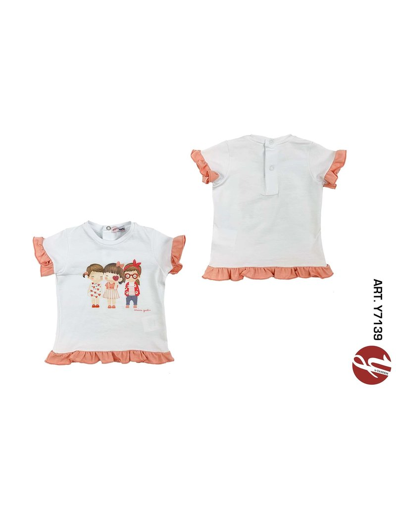 "Yours Tshirt ""Mini Girl"" frulletjes roze"