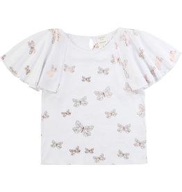 Carrément Beau Tshirt wit/vlindertjes koper mouw