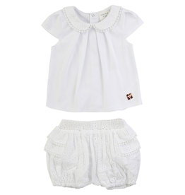 Carrément Beau Tshirt + Bloomer broderie wit
