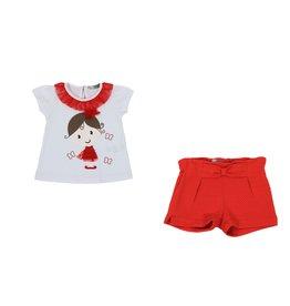 """Dr Kid Tshirt """"Floral""""+Shortje rood"""