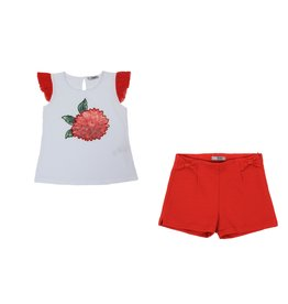 "Dr Kid Top ""Floral""+Shortje rood"
