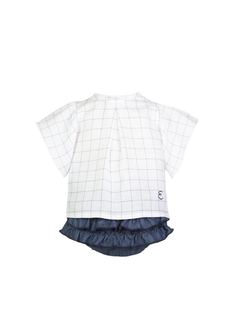 "Eve Children Blousje ruitjes + bloomer ""Jeans"""