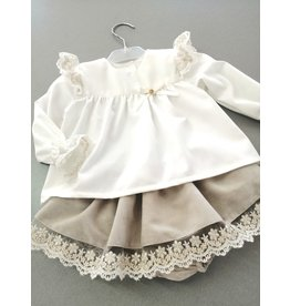 BE CHIC Blouse frulletjes kant offwhite