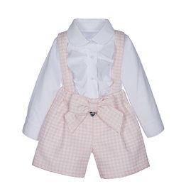 Lapin House Setje blouse+shortje salopet pied de poule roze