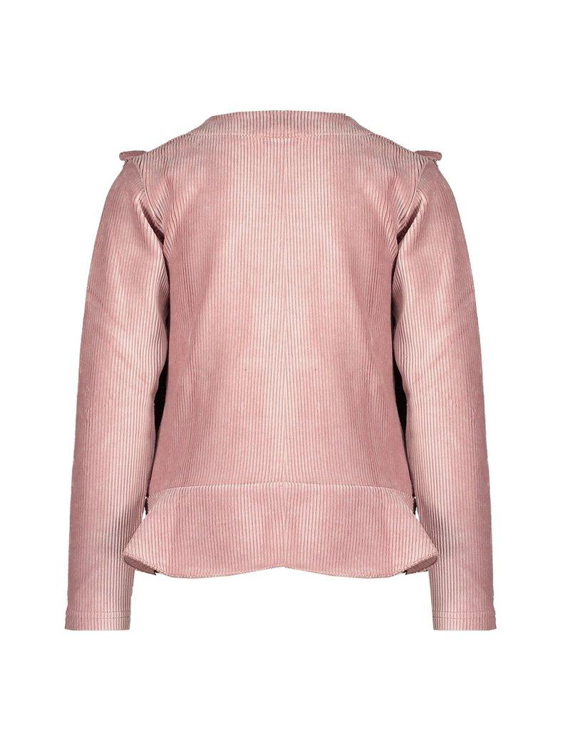 Le Chic Sweater rib peplum ruffle french rose