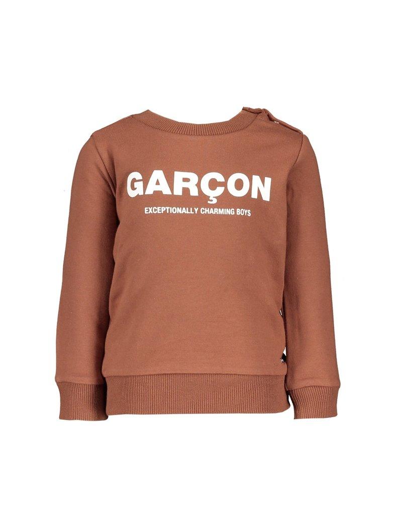 """Le Chic Garçon Sweatertje """"Garçon"""" cinnamon"""