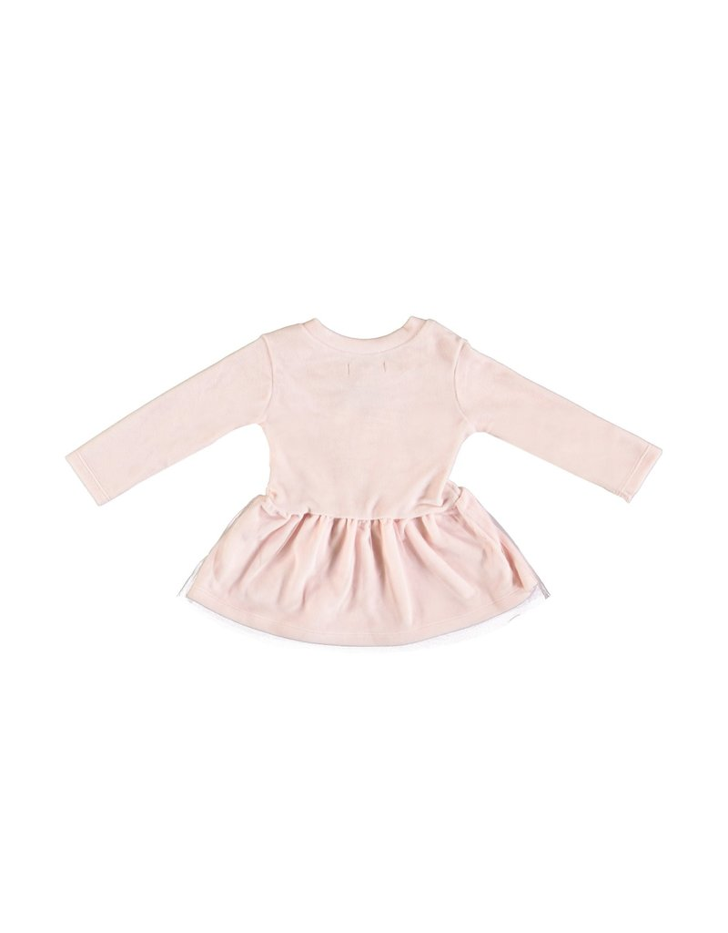 "LE CHIC BEBE Jurk ""Chic"" soft velours pink tule"