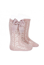 CONDOR Kniekous openwork with bow PALE PINK