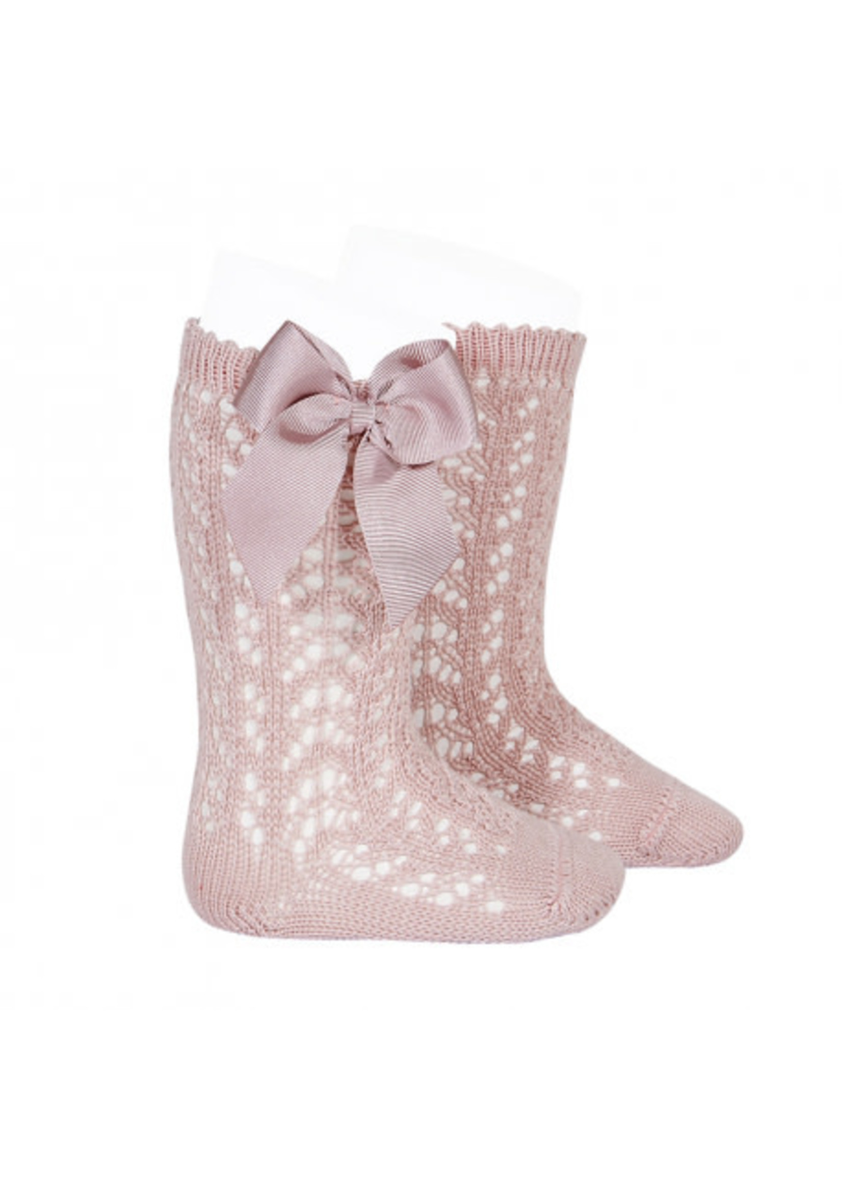 CONDOR CONDOR Kniekous openwork with bow PALE PINK
