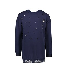 Le Chic Sweatjurk pearls & discoball blue navy