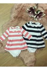 TOMMY HILFIGER Polo jurk rugby stripe pink/white