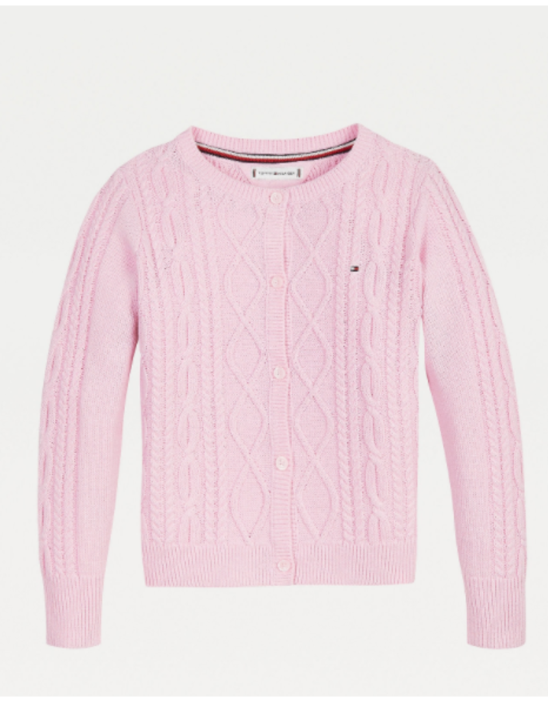 TOMMY HILFIGER Cardigan kabelmatief romantic pink