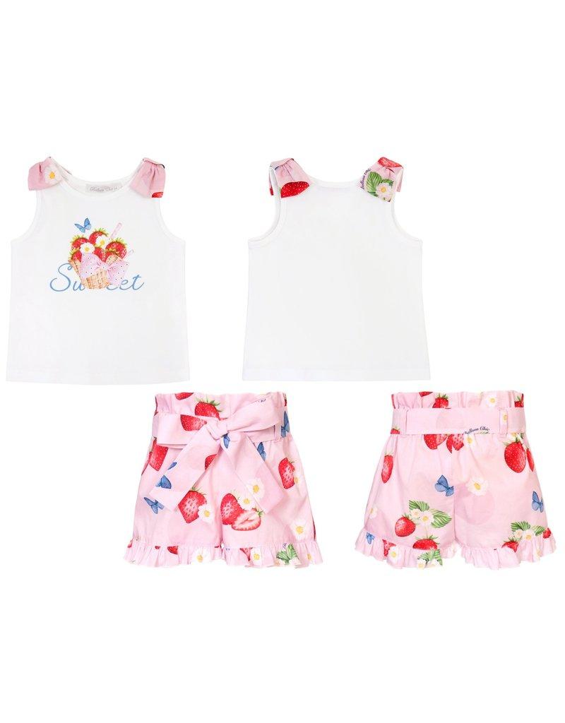 "Balloon Chic Set ""Strawberries"" top+shortje"