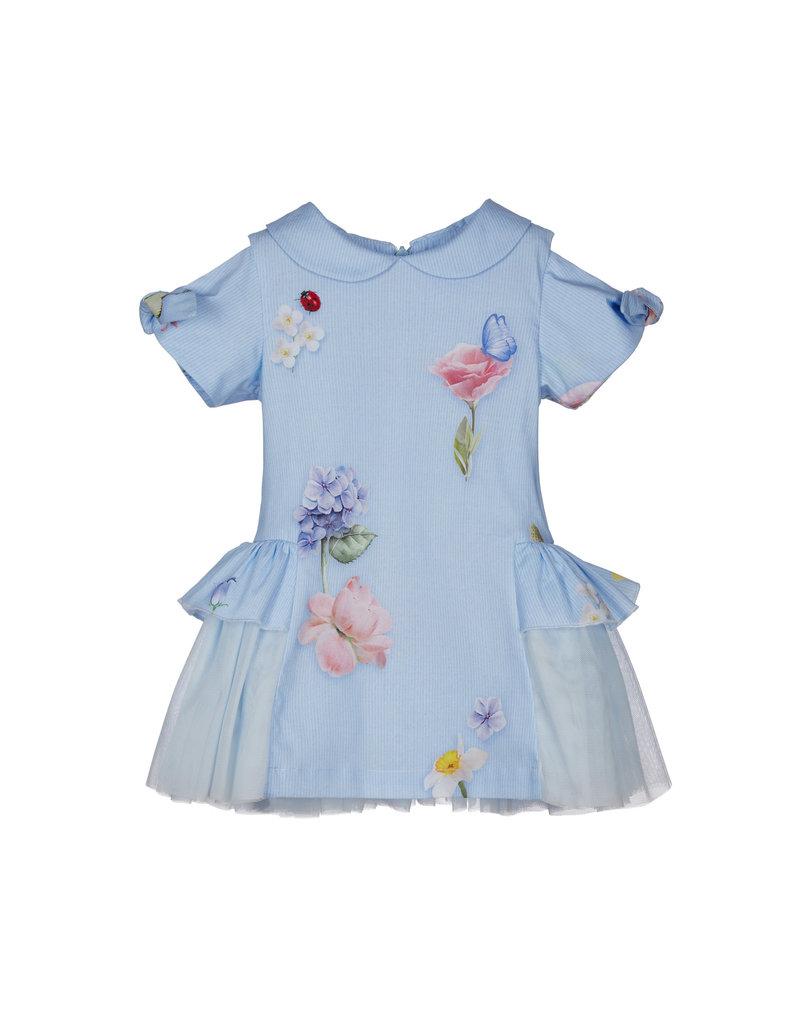 "Lapin House Jurk ""Flowers"" blauw tule"
