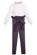 Set bloes wit + broek grijs