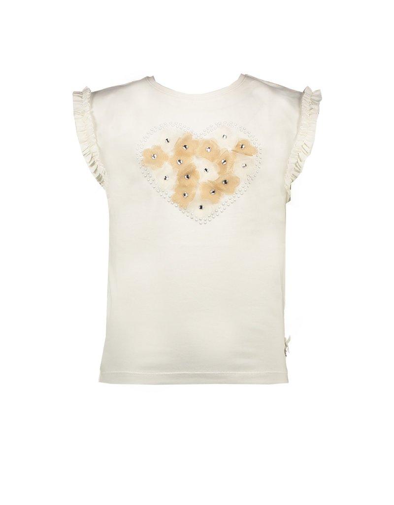 Le Chic Tshirt bloemetjes hartje offwhite