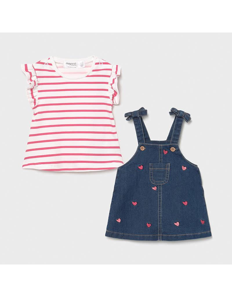 MAYORAL Jurkje jeans + tshirt streepje roze
