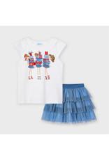 MAYORAL 2 delige set Tshirt + Rok tulle blauw