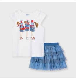 MAYORAL 2 delige set Tshirt + Rok tulle blauw