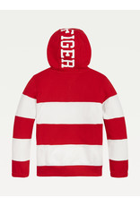 TOMMY HILFIGER Hoodie rugby stripe deep crimson/white