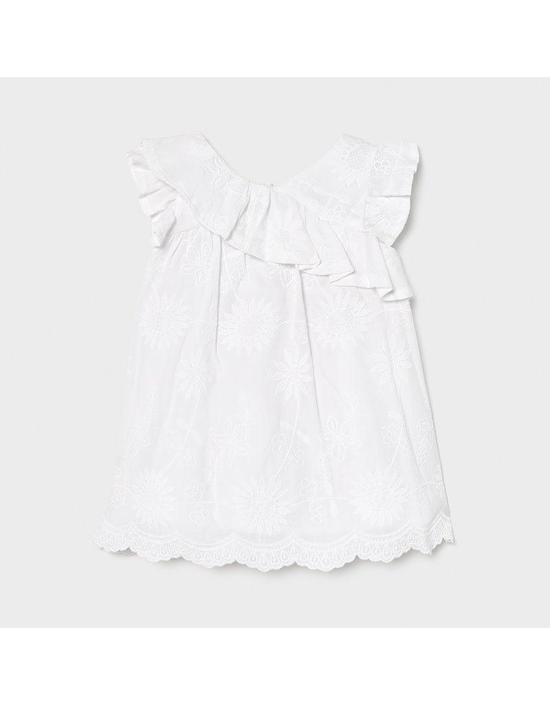 MAYORAL Jurk embroidered white