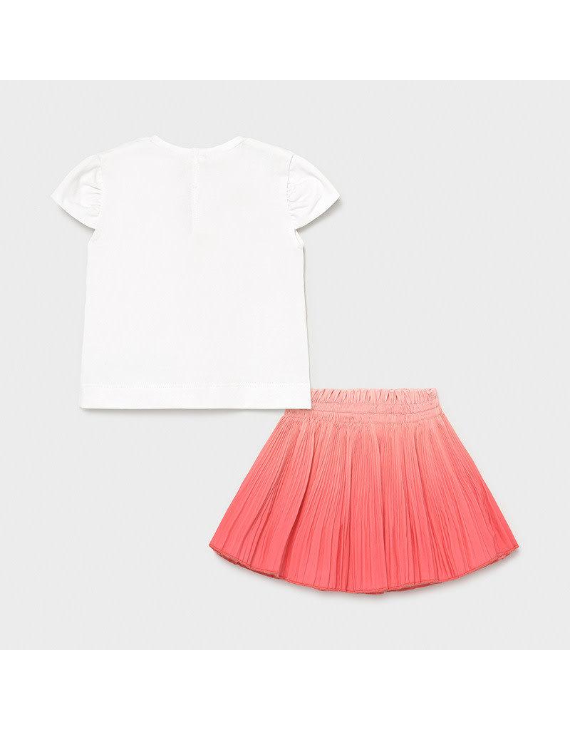 MAYORAL 2 delige set Tshirt + Rok coral