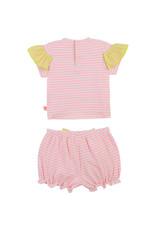 Billieblush 2 delige set tshirt + shortje streepjes roze