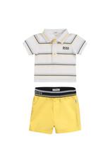 HUGO BOSS 2 delige set Polo + Shortje geel