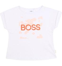 """HUGO BOSS Tshirt """"BOSS"""" wit/rose"""