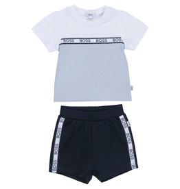 HUGO BOSS 2 delige set Tshirt + Broekje wit/navy