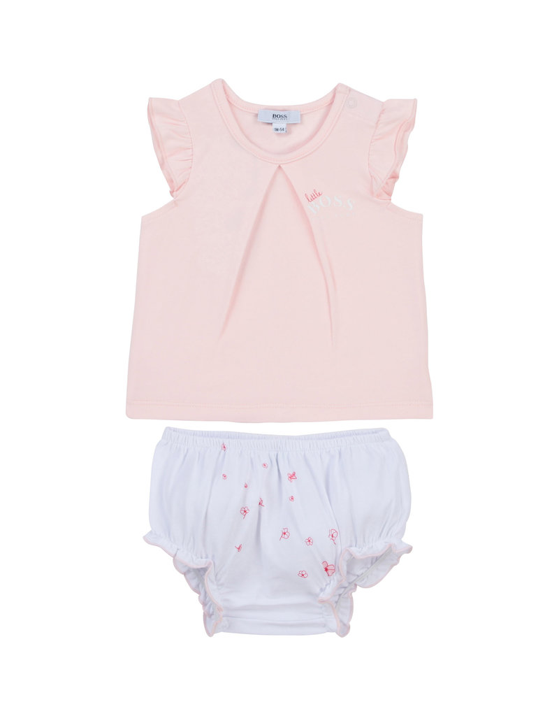 HUGO BOSS 2 delige set Tshirt + Bloomer rose/wit