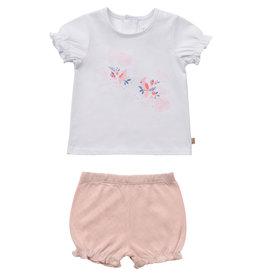 Carrément Beau 2 delige set Tshirt + Bloomer wit/roze