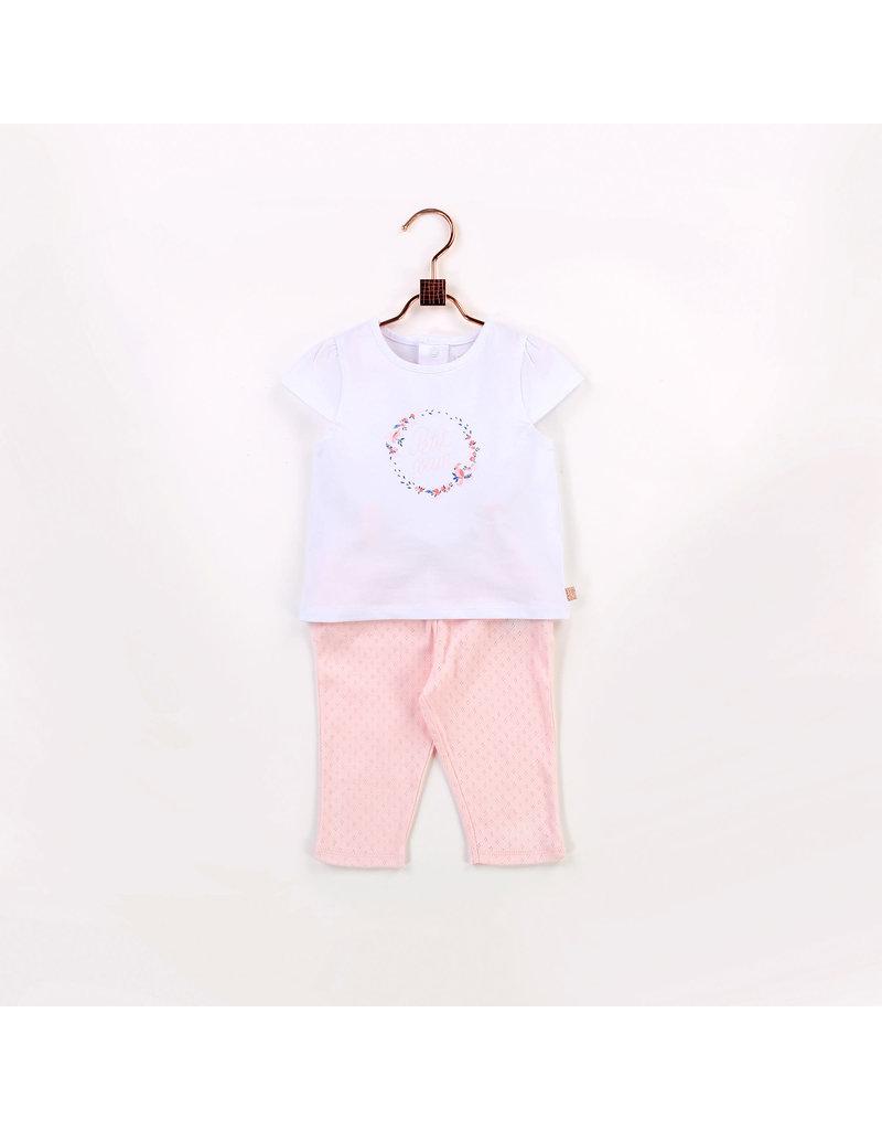 Carrément Beau 2 delige set Tshirt + Broekje wit/roze