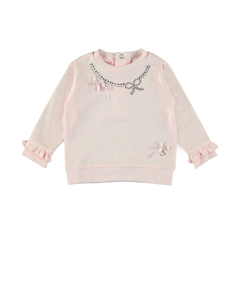 Le Chic Sweater glitter bow pink
