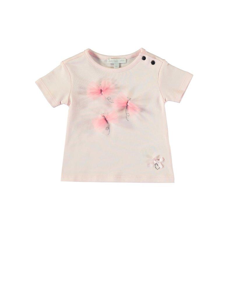 Le Chic Tshirt vlinderstrikjes pink