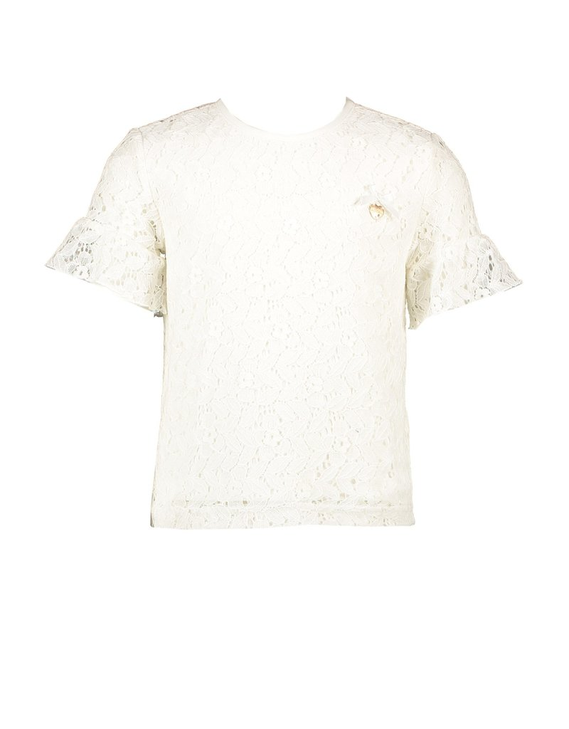 Le Chic Blouse kant ruffle mouw off white