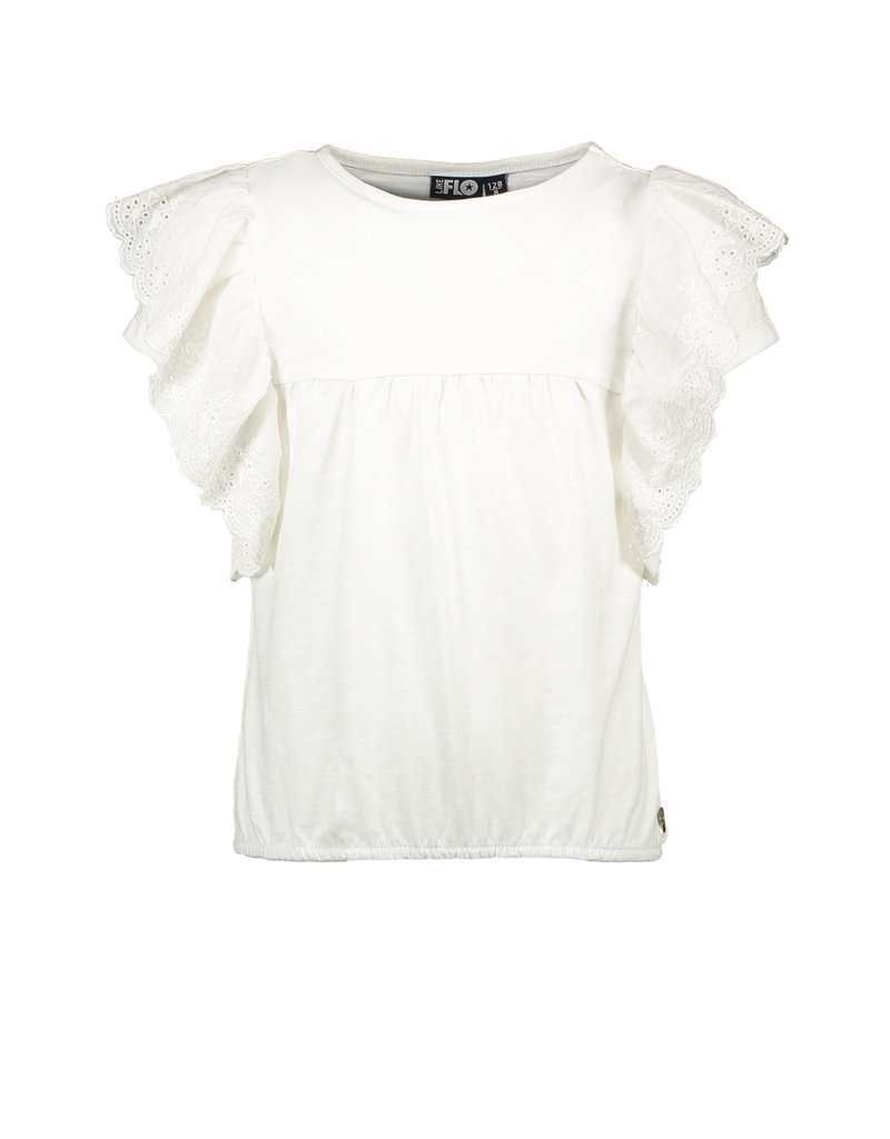 LIKE FLO Top broidery anglais ruffle off white