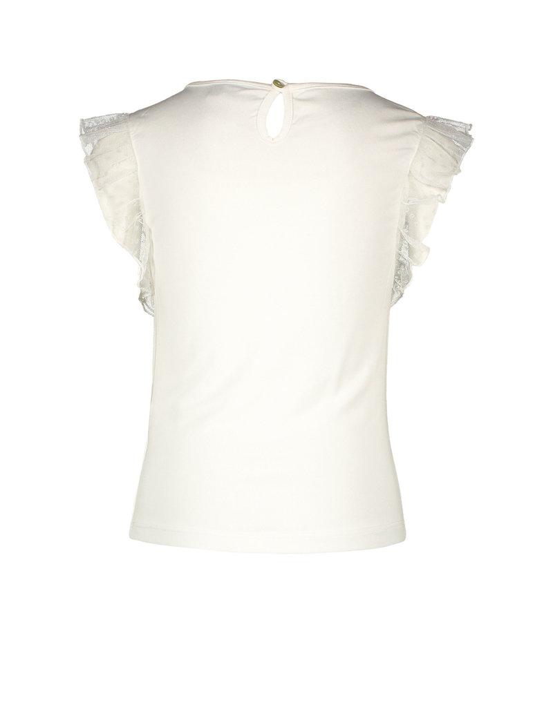 LIKE FLO Top mesh ruffle off white