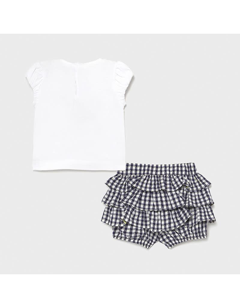 MAYORAL Setje Tshirt+Broekje+Haarbandje vichy marine