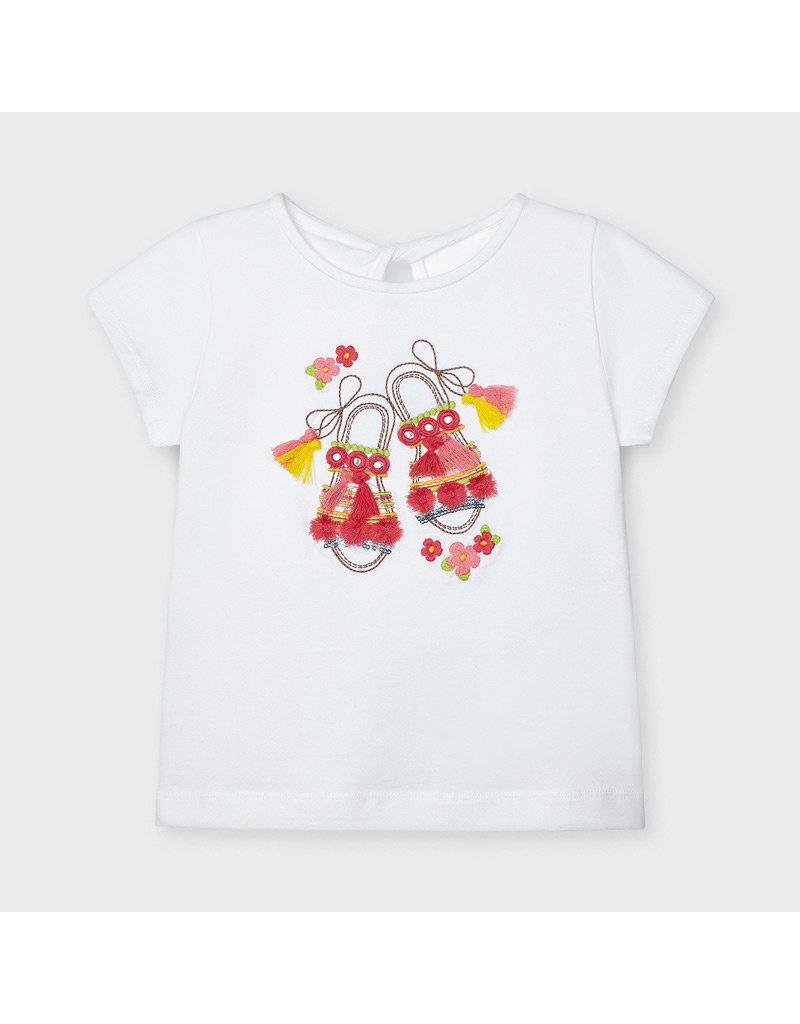 """MAYORAL 2 delige set Tshirt """"Shoes"""" + Rokje"""